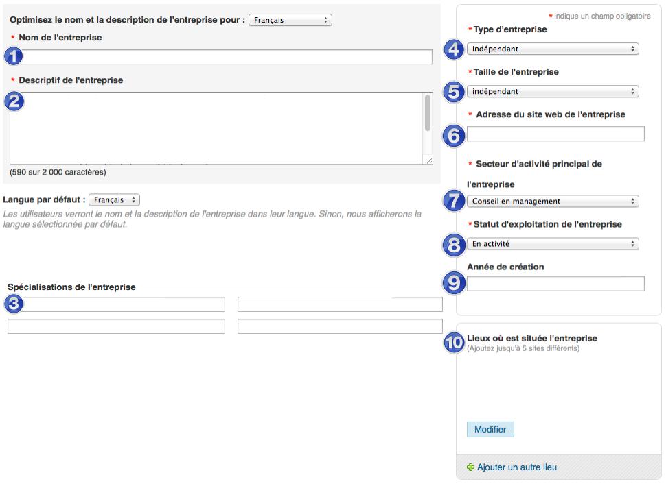 Informations page entreprise linkedin