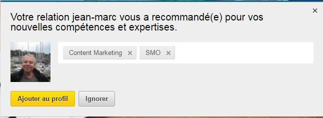 Exemple recommandation LinkedIn