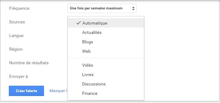 Google alerte sources