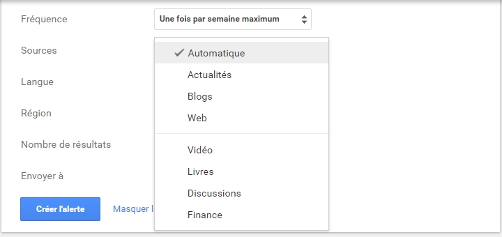 Google alerte sources