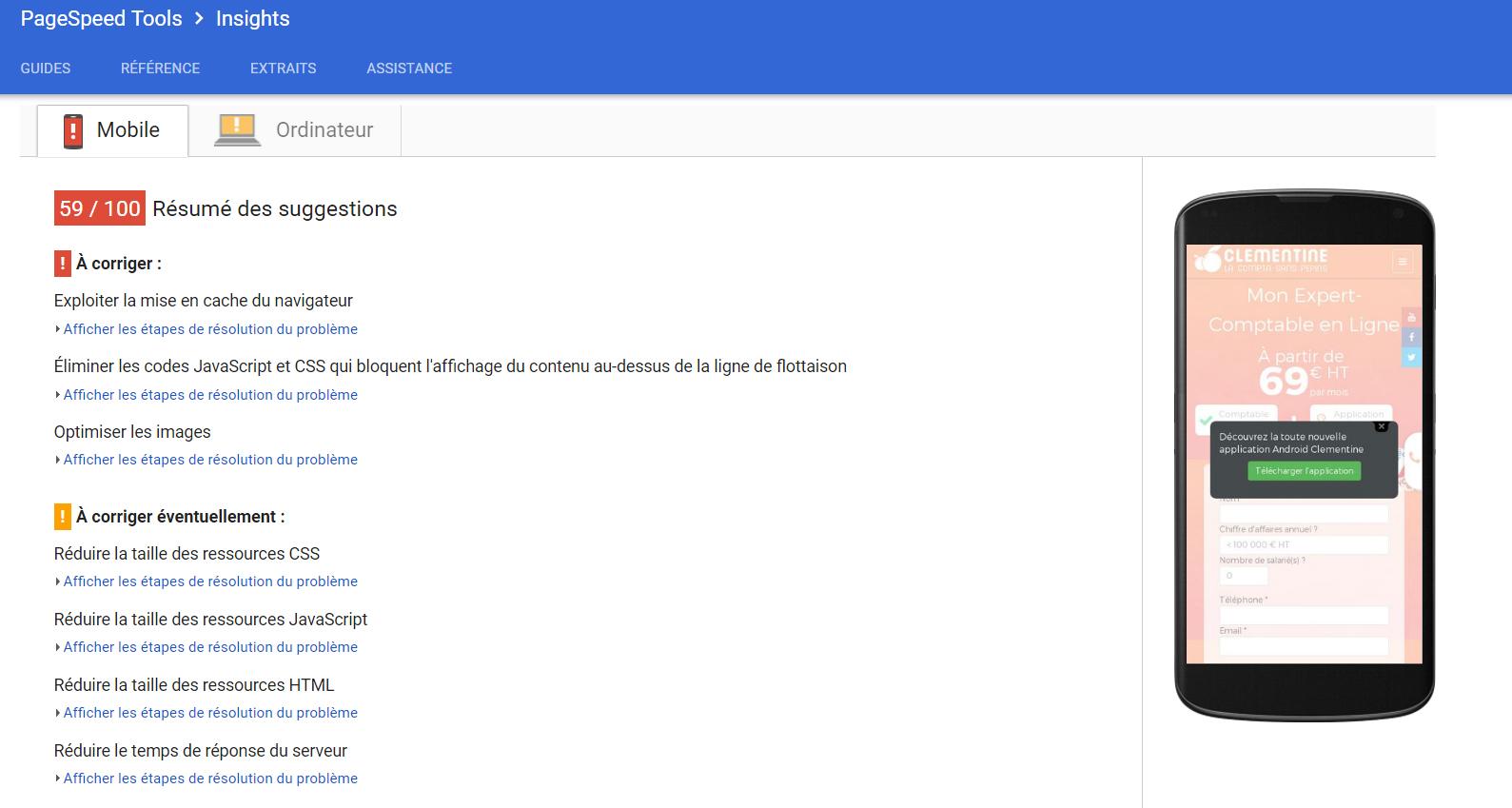 Test d'une page sur l'outil Google PageSpeed Insights