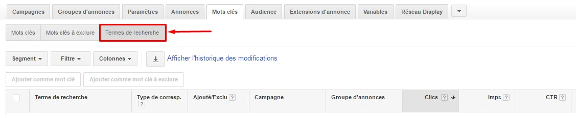 Rapport termes de recherche Google AdWords