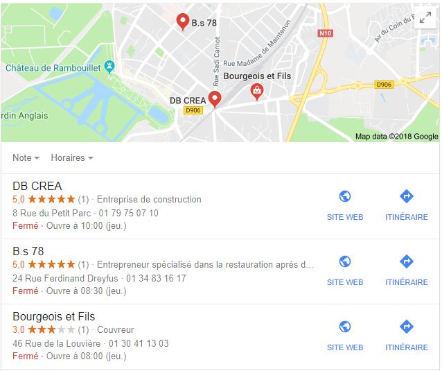Carte google maps dans google recherche